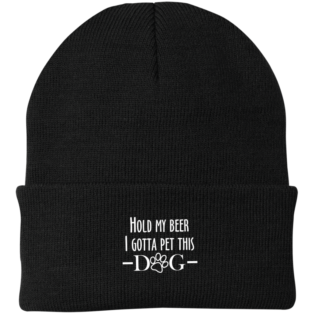 HOLD MY BEER I GOTTA PET THIS DOG KNIT CAP
