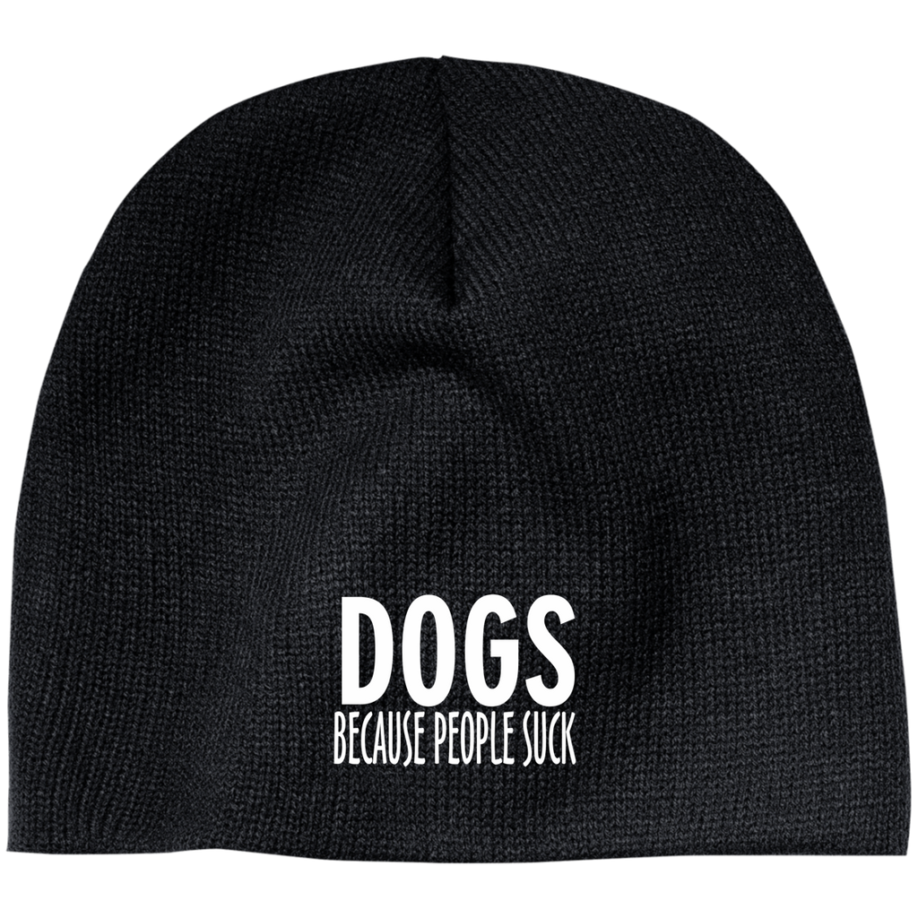DOGS BECAUSE PEOPLE SUCK BEANIE