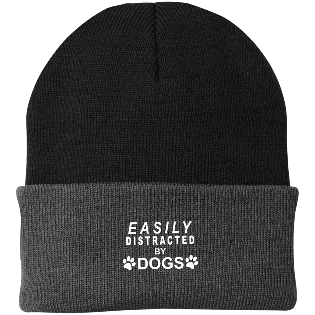 EASILY DISTRACTED BY DOGS KNIT CAP