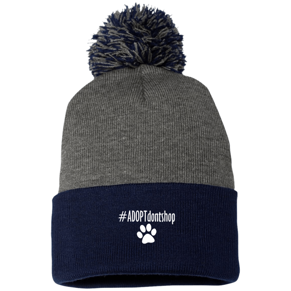 #ADOPT DON'T SHOP KNIT CAP WITH POM-POM