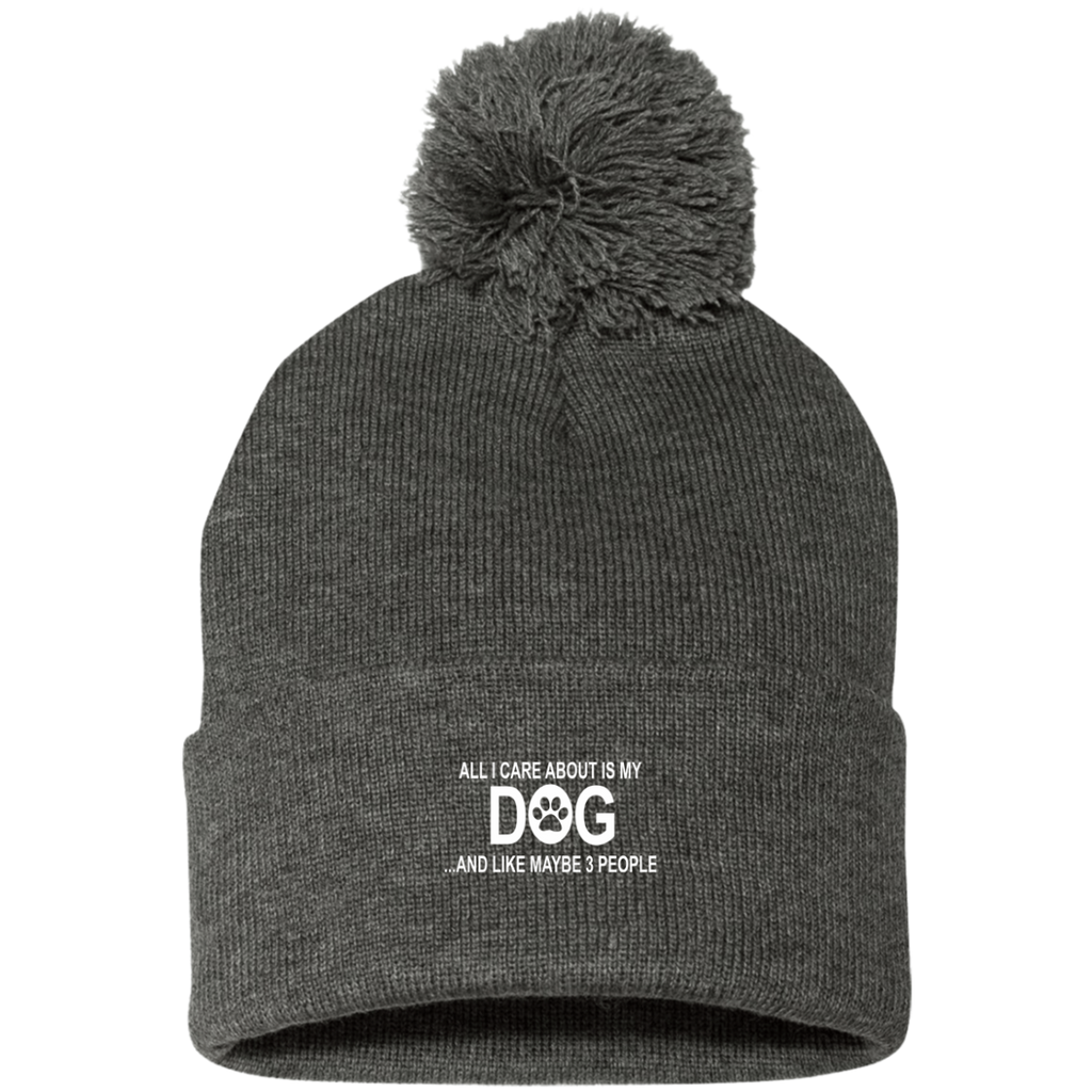 ALL I CARE ABOUT IS MY DOG AND LIKE MAYBE 3 PEOPLE KNIT CAP WITH POM-POM