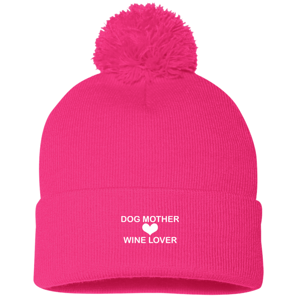 DOG MOTHER WINE LOVER KNIT CAP WITH POM-POM