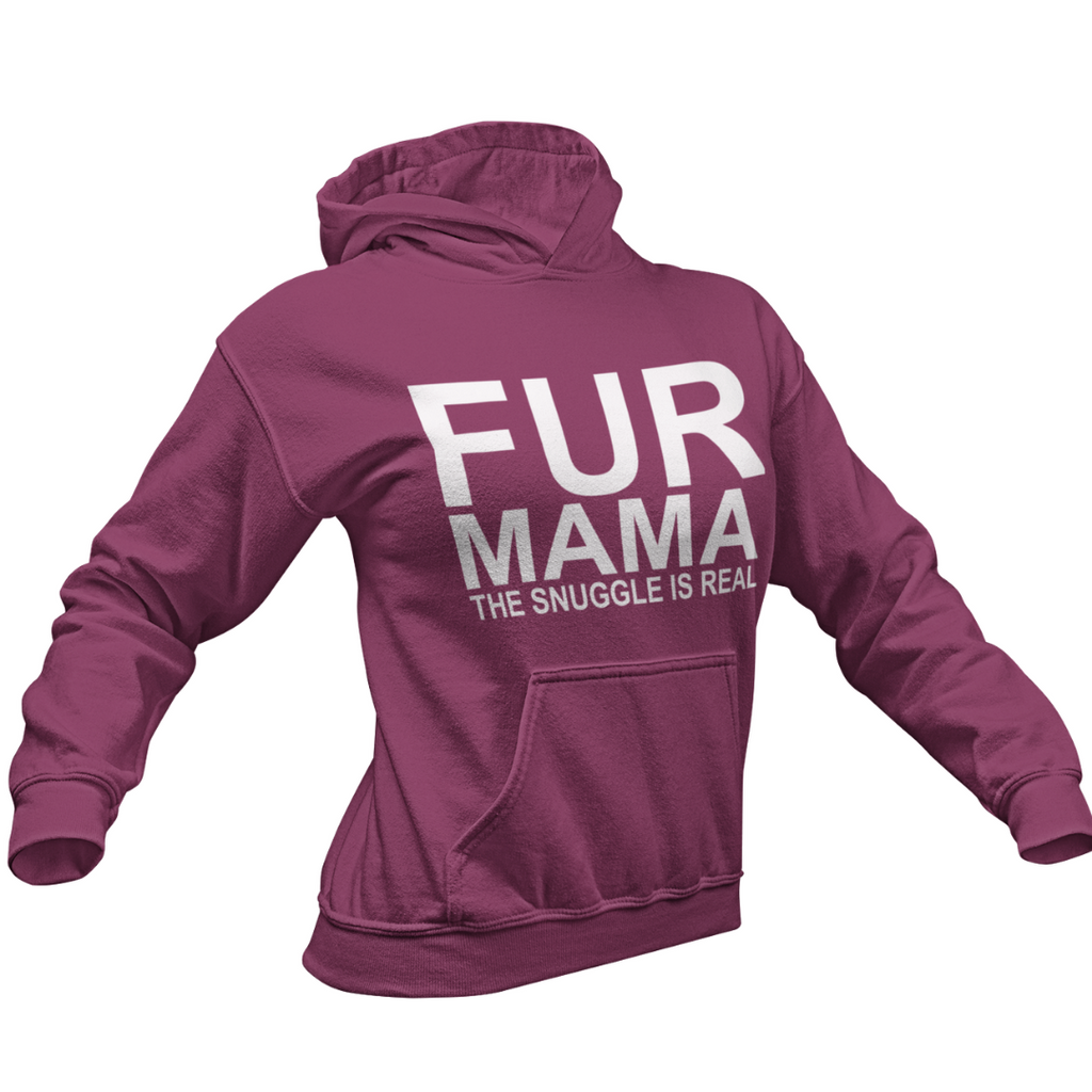 FUR MAMA THE SNUGGLE IS REAL COLLEGE FIT WOMEN'S HOODIE