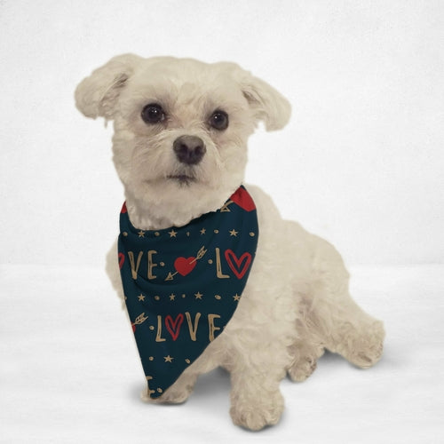 Navy Blue Love Dog Bandana