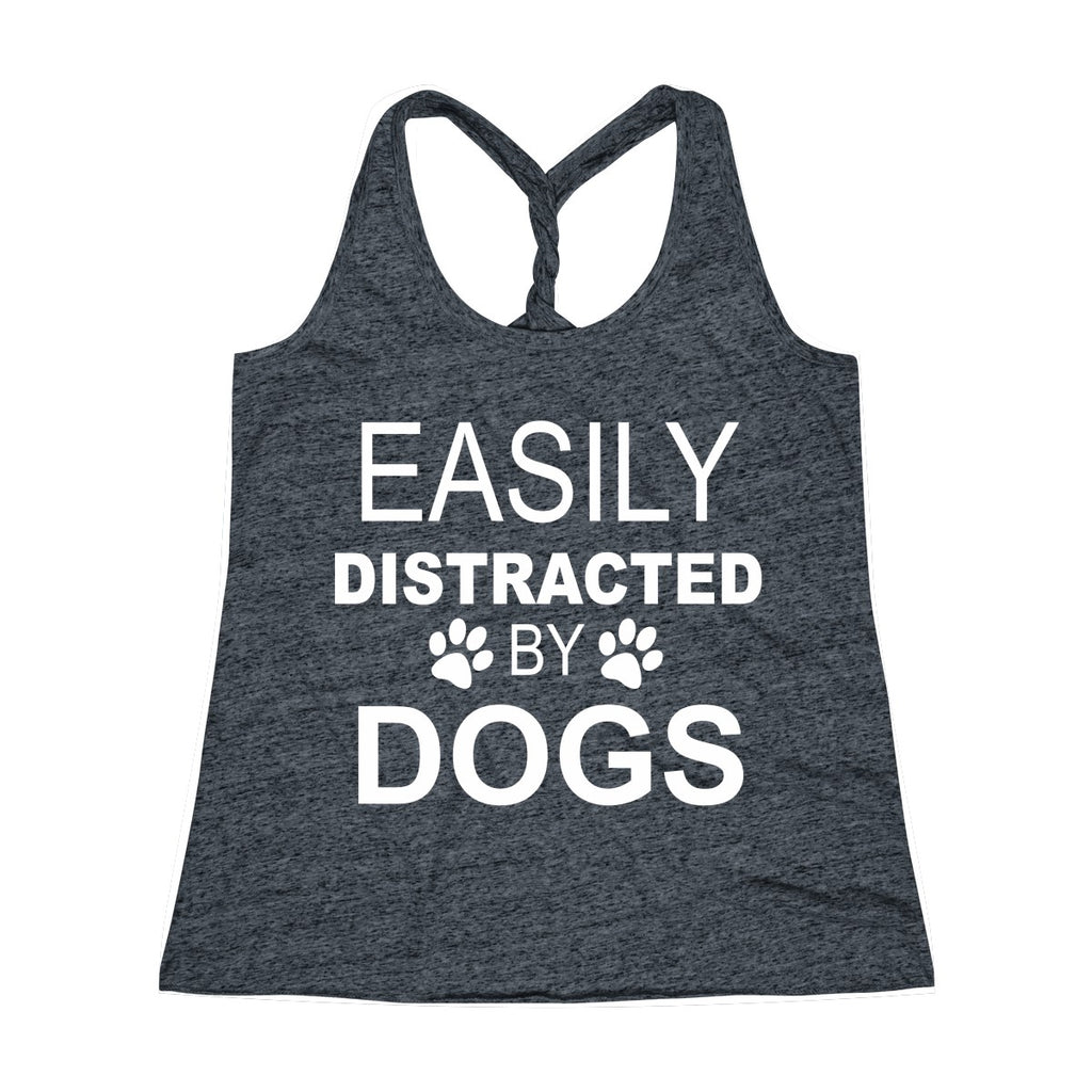 EASILY DISTRACTED BY DOGS TWIST BACK TANK TOP