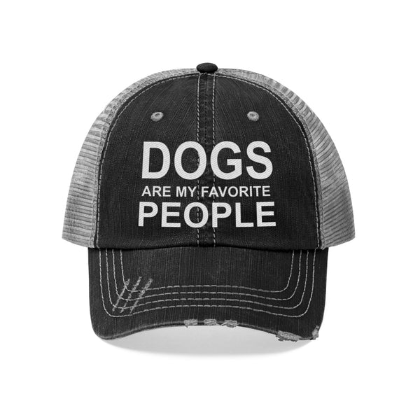 Dogs are my favorite people distressed trucker hat for dog lovers and dog moms - Mucho Poocho
