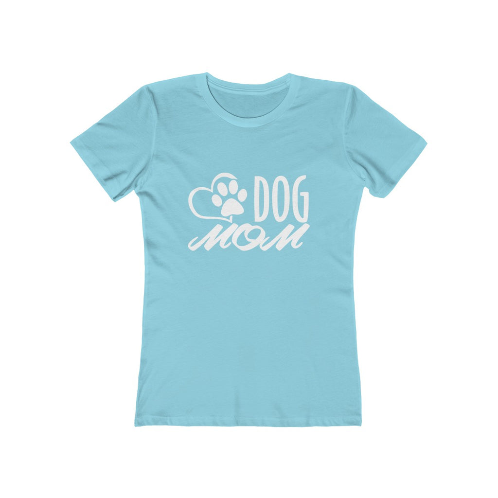 Dog Mom boyfriend tshirt for women dog lovers baby blue - Mucho Poocho