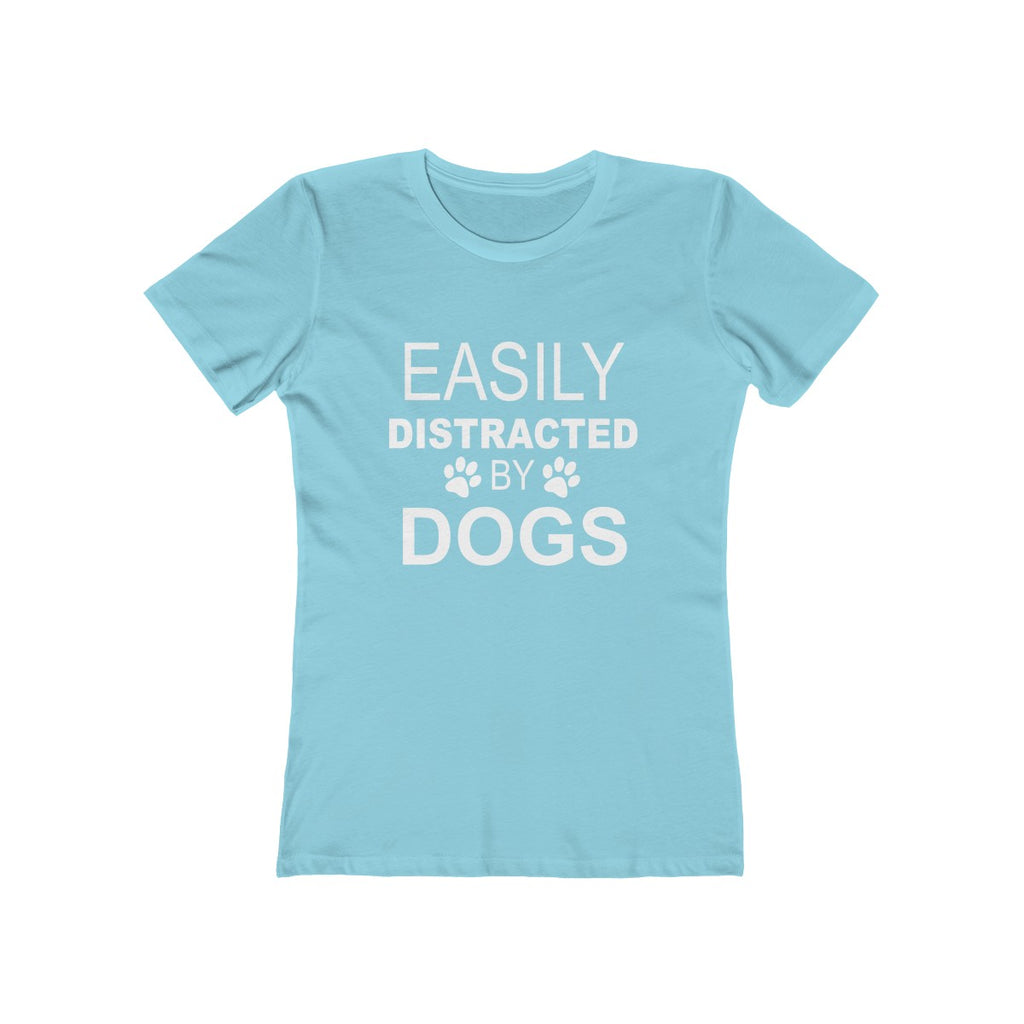Easily distracted by dogsboyfriend tee for dog lovers baby blue - Mucho Poocho