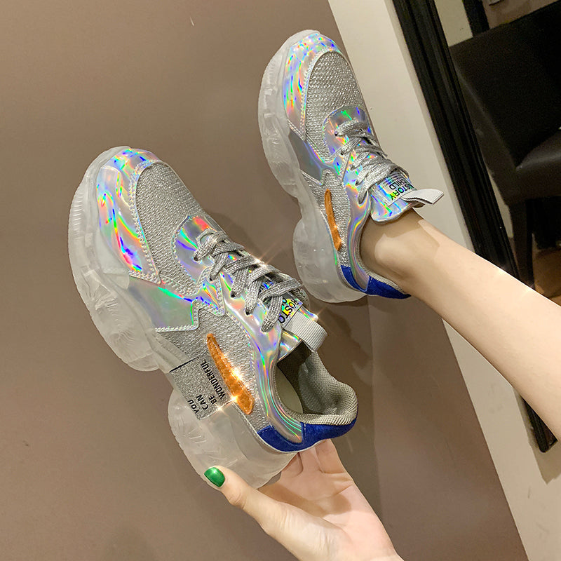 2019 new arrive Woman Casual Transparent Wedge Summer Rhinestone Sneaker shoes