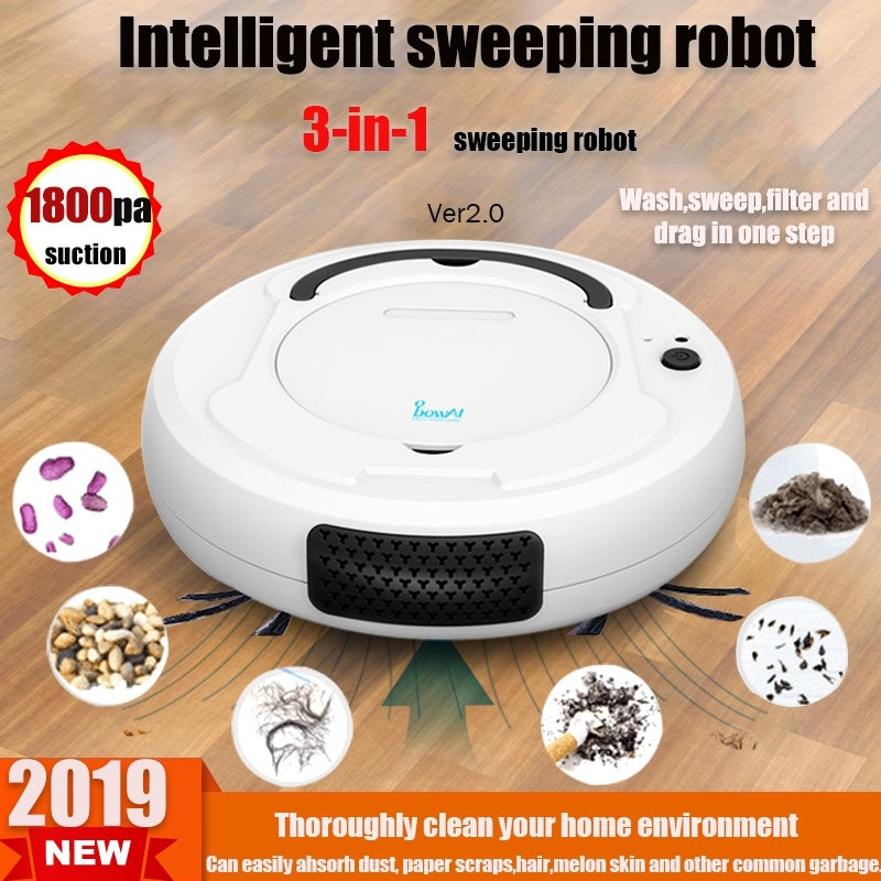 3-in-1 automatic rechargeable 1800PA multi-function intelligent floor washing machine