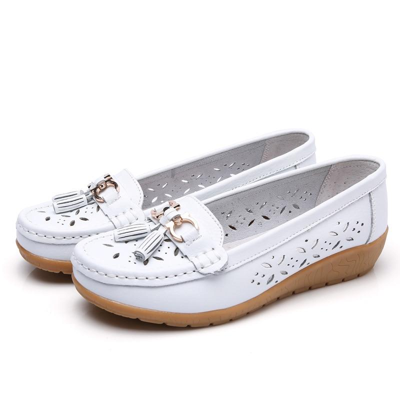 Women Genuine Leather Slip On Casual Flat Shoes Loafers