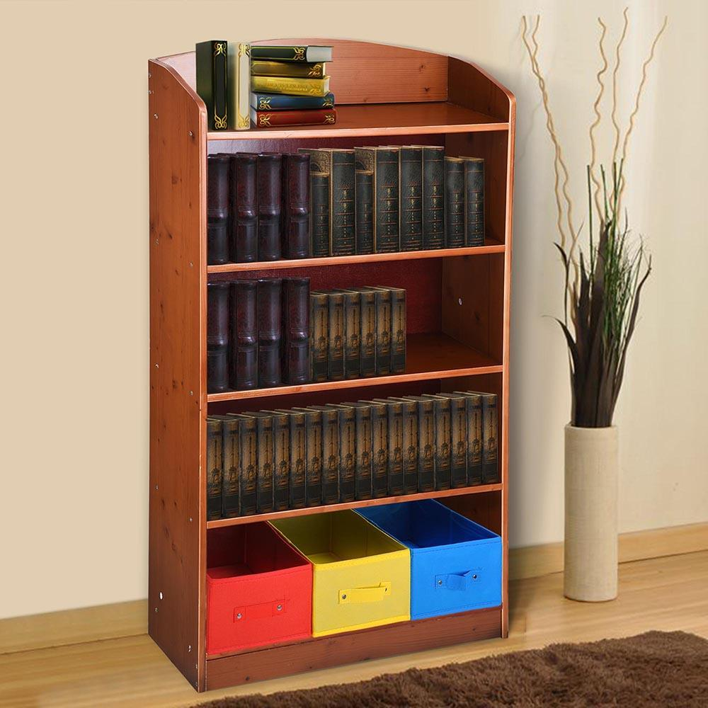 5 Tier Home Wood Bookshelf  Bookrack with 3 Non-woven Bins Home Furniture