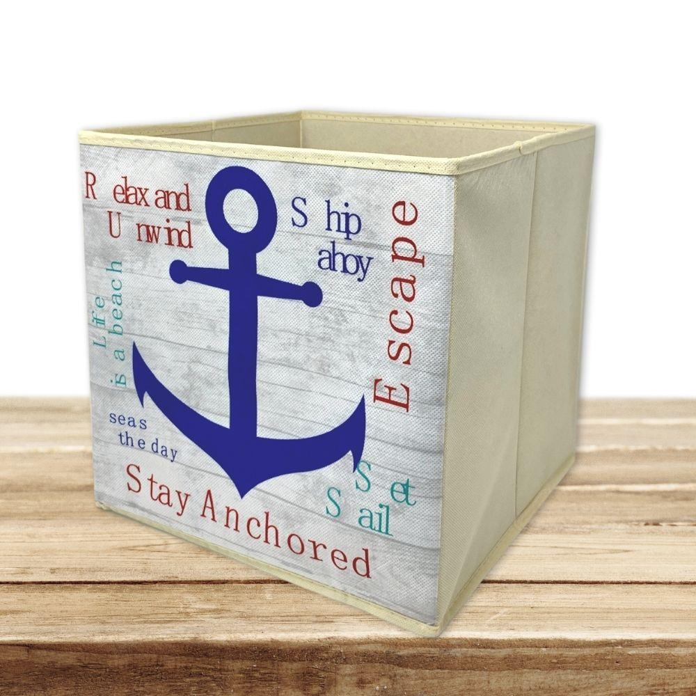 Nautical Anchor Storage Bin - Banberry Designs Beach Themed Storage Box - Blue Anchor Design - 11