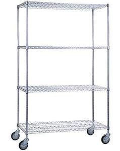 "SafeRacks NSF Certified Commercial Grade Adjustable 4-Tier Steel Wire Shelving Rack with 4"" Wheels - 18"" x 48"" x 72"" (18""x48""x72"" 4-Tier)"