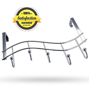 Shop for over the door rack with hooks 5 hangers for towels coats clothes robes ties hats bathroom closet extra long heavy duty chrome space saver mudroom organizer by kyle matthews designs