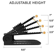Load image into Gallery viewer, Products new upgraded adjustable shoes organizer best quality shoe slots closet storage space saver durable holds high heels to sneakers for men women and kid shoes 8 pack in black