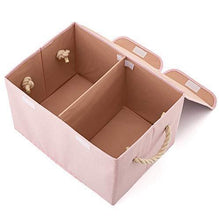 Load image into Gallery viewer, On amazon ezoware large storage boxes 2 pack large linen fabric foldable storage cubes bin box containers with lid and handles for nursery children closet bedroom living room pink