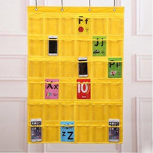 Load image into Gallery viewer, Kitchen lecent classroom pocket chart for cell phones business cards 36 pockets wall door closet mobile hanging storage bag organizer clear pocket