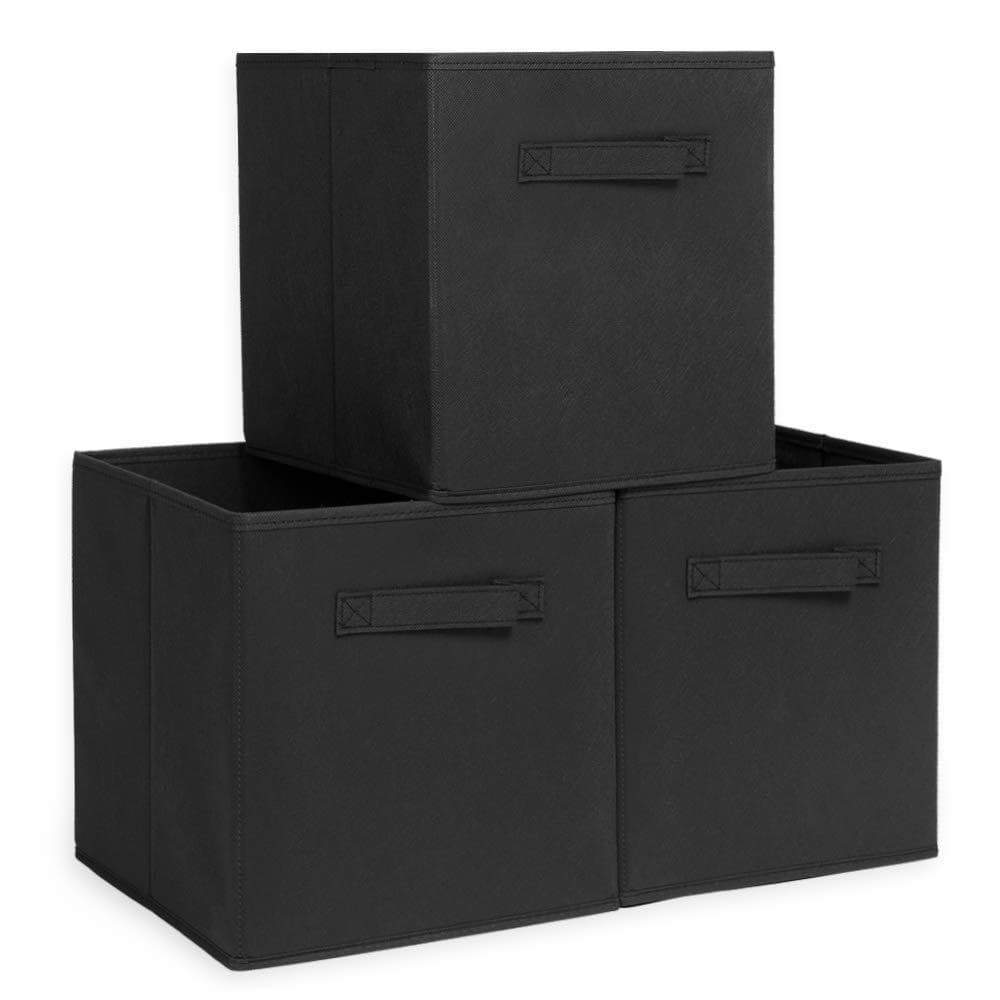 XIMIVOGUE Foldable Cube Storage Bin Foldable Cloth Storage Cube Basket Bins Boxes Organizer Containers Drawers Non-Lids with Handle for Nursery Home 3-Pack(Black)