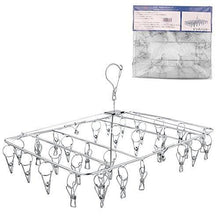 Load image into Gallery viewer, Best seller  rosefray laundry clothesline hanging rack for drying sturdy 34 clips collapsible clothes drying rack great to hang in a closet on a shower rod and outside on a patio or deck