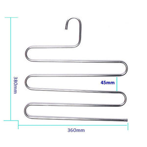 Featured teerfu 3 pack study pants hangers s type stainless steel trousers rack 5 layers multi purpose closet hangers magic space saver storage rack for clothes towel scarf trousers tie