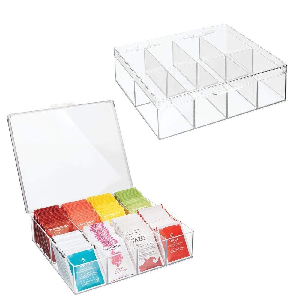 mDesign Tea Storage Organizer Box - 8 Divided Sections, Easy-View Hinged Lid - Use in Kitchen, Pantry, and Cabinets; Holder for Tea Bags, Packets, Small Items and Accessories, BPA free, 2 Pack - Clear