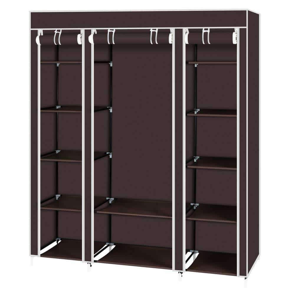 Best seller  amashion 69 5 tier portable clothes closet wardrobe storage organizer with non woven fabric quick and easy to assemble dark brown