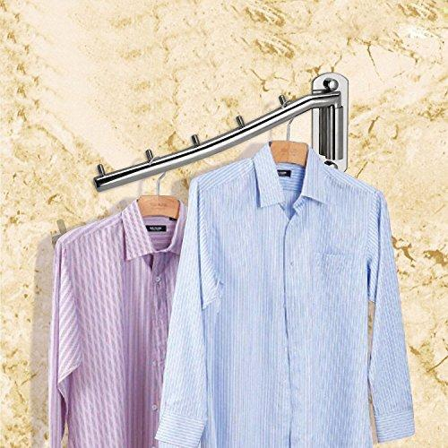 Storage clothes hanger rack holder ulifestar folding wall mounted coat hooks stainless steel garment rack clothing hanging shelves closet organizer hanger drying rack bathroom towel hooks