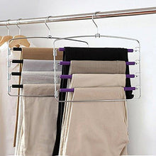 Load image into Gallery viewer, Order now clothes pants hangers 2pack multi layers metal pant slack hangers foam padded swing arm pants hangers closet storage organizer for pants jeans scarf hanging purple 4pack