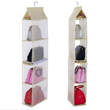 Load image into Gallery viewer, Get ixaer detachable hanging handbag organizer purse bag collection storage holder wardrobe closet hatstand 4 compartment beige
