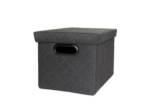 Canvas Basket With Lid - Grey