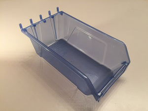 "Plastic Slatwall Storage Bins, Hobibox ""Long"" 10Pk, Translucent Blue 7.75x4.5x2.87"