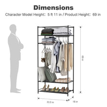 Load image into Gallery viewer, Kitchen langria heavy duty zip up closet shoe organizer with detachable brown cloth cover wardrobe metal storage clothes rack armoire with 4 shelves and 2 hanging rods max load 463 lbs