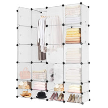 Load image into Gallery viewer, Related tangkula portable clothes closet wardrobe bedroom armoire diy storage organizer closet with doors 16 cubes and 8 shoe racks