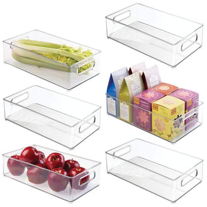 mDesign Large Stackable Kitchen Storage Organizer Bin with Pull Front Handle for Refrigerators, Freezers, Cabinets, Pantries - BPA Free, Food Safe - Deep Rectangle Tray Basket - 6 Pack - Clear