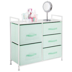Online shopping mdesign wide dresser storage tower furniture metal frame wood top easy pull fabric bins organizer for kids bedroom hallway entryway closet dorm chevron print 5 drawers mint green white