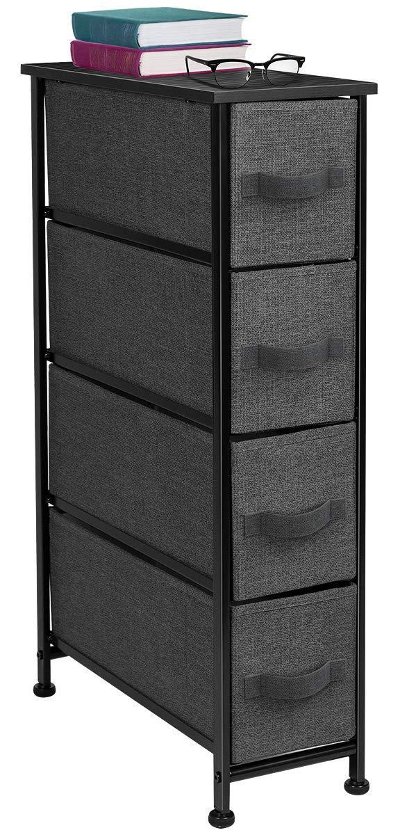 Latest sorbus narrow dresser tower with 4 drawers vertical storage for bedroom bathroom laundry closets and more steel frame wood top easy pull fabric bins black charcoal