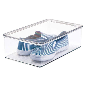 Budget friendly mdesign stackable plastic closet shelf shoe storage organizer box with lid for mens womens kids sandals flats sneakers 8 pack clear