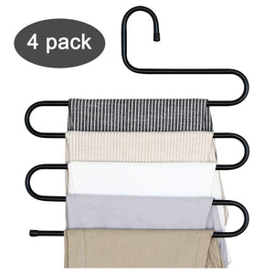 Budget friendly ds pants hanger multi layer s style jeans trouser hanger closet organize storage stainless steel rack space saver for tie scarf shock jeans towel clothes 4 pack 1