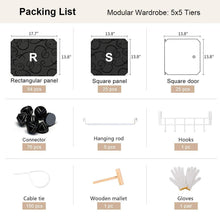 Load image into Gallery viewer, Heavy duty yozo modular wardrobe portable clothes closet garment rack polyresin storage organizer bedroom armoire cubby shelving unit dresser multifunction cabinet diy furniture black 25 cubes