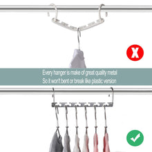 Load image into Gallery viewer, Exclusive meetu space saving hangers wonder multifunctional clothes hangers stainless steel 6x2 slots magic hanger cascading hanger updated hook design closet organizer hanger pack of 12