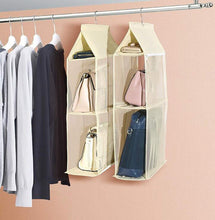 Load image into Gallery viewer, Featured ixaer detachable hanging handbag organizer purse bag collection storage holder wardrobe closet hatstand 4 compartment beige