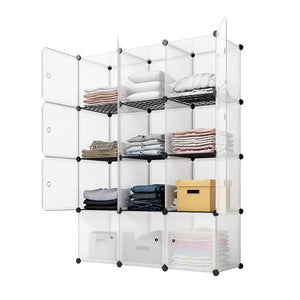KOUSI Storage Storage Cubes Storage Shelves Clothes Storage Room Organizer Storage Shelves Shelves for Storage Cubby Shelving Cube Storage Bookshelf, Transparent White, 12 Cubes Storage