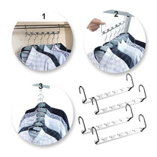 Load image into Gallery viewer, Budget 4pcs clothes hangers space saver closet organizer with vertical and horizontal options premium abs material in solid silver color