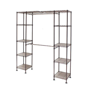 Top seville classics double rod expandable clothes rack closet organizer system 58 to 83 w x 14 d x 72 satin bronze