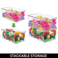 Load image into Gallery viewer, Top rated mdesign stackable closet plastic storage bin box with lid container for organizing childs kids toys action figures crayons markers building blocks puzzles crafts 5 high 4 pack clear