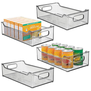 "mDesign Wide Stackable Plastic Kitchen Pantry Cabinet, Refrigerator or Freezer Food Storage Bin with Handles - Organizer for Fruit, Yogurt, Snacks, Pasta - BPA Free, 14.5"" Long, 4 Pack - Smoke Gray"
