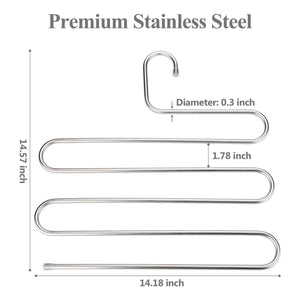 Top rated trusber stainless steel pants hangers s shape metal clothes racks with 5 layers for closet organization space saving for pants jeans trousers scarfs durable and no distortion silver pack of 4