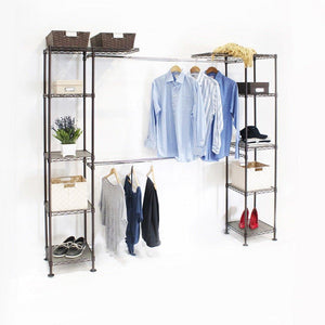 Amazon best seville classics double rod expandable clothes rack closet organizer system 58 to 83 w x 14 d x 72 satin bronze