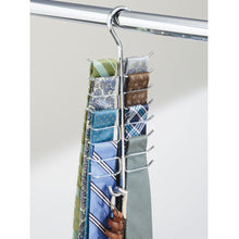 Load image into Gallery viewer, Organize with interdesign axis vertical closet organizer rack for ties belts chrome